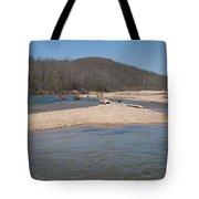 The Black River In Winter Tote Bag