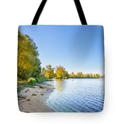 River Shore And Trees Tote Bag