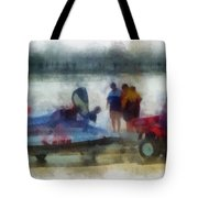 River Speed Boat Photo Art Tote Bag