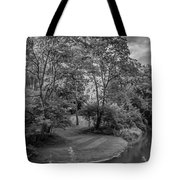 River Tranquility Monochrome Tote Bag