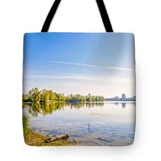 River Trees And City Skyline Tote Bag