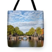 River View Of Amsterdam In The Netherlands Tote Bag