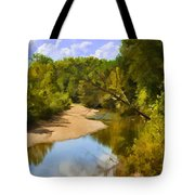 River View With Reflections - Digital Paint Tote Bag