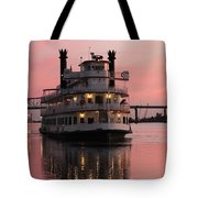 Riverboat At Sunset Tote Bag