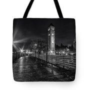 Riverfront Park Clocktower Seahawks Black And White Tote Bag
