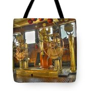 Rms Queen Mary Bridge Well-polished Brass Annunciator Controls And Steering Wheels Tote Bag