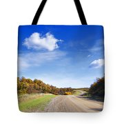 Road Approaching Hill Tote Bag