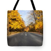 Road In Autumn Forest Tote Bag