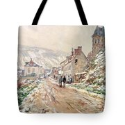 Road In Vetheuil In Winter Tote Bag