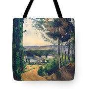 Road Leading To A Lake Tote Bag