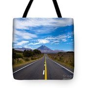Road Leading To Active Volcanoe Mt Ngauruhoe Nz Tote Bag
