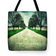 Road Lined By Trees Tote Bag