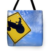 Road Sign Tractor Crossing Tote Bag