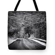Road Through Dark Snowy Forest E93 Tote Bag