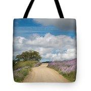 Road Through Lupine Tote Bag