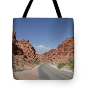 Road Throught The Valley Of Fire Tote Bag