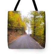 Road With Autumn Trees Tote Bag