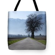 Road With Trees Tote Bag