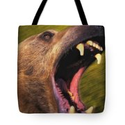 Roaring Grizzly Bears Face Rocky Tote Bag