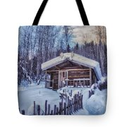 Robert Service Cabin Winter Idyll Tote Bag by Priska Wettstein