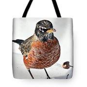 Robin In The Snow Tote Bag