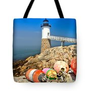 Robinson Point Lighthouse Tote Bag by Adam Jewell