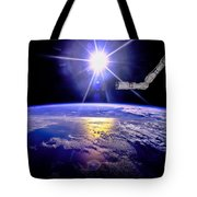 Robot Arm Over Earth With Sunburst  Tote Bag