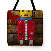 Robot With Butterfly Tote Bag