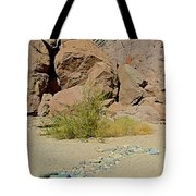 Rock Arrow And Terry Directing Into Ladder Canyon From Big Painted Canyon Trail In Mecca Hills-ca  Tote Bag