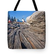 Rock Formations At Pemaquid Point Light Tote Bag