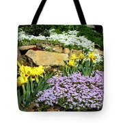 Rock Garden Flowers Tote Bag