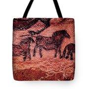Rock Painting Of Tarpans Ponies, C.17000 Bc Cave Painting Tote Bag