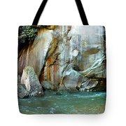 Rock Wall And River Tote Bag