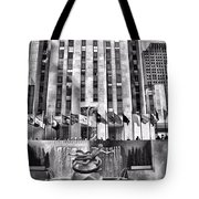 Rockefeller Center Black And White Tote Bag