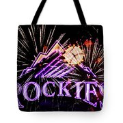 Rockies And Fireworks Tote Bag by Bob Hislop