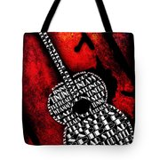 Rockin Guitar In Red Typography Tote Bag