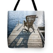 Rocking Chair On Dock Tote Bag