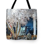 Rocking Chair On Porch In Winter Tote Bag