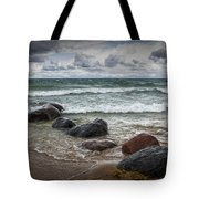 Rocks And Waves At Wilderness Park In Sturgeon Bay Tote Bag
