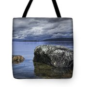 Rocks In The Water On A Lake In Acadia National Park Tote Bag
