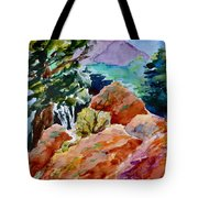 Rocks Near Red Feather Tote Bag