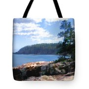 Rocky Coast .  Impressionistic  Tote Bag by Ann Powell