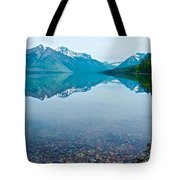 Rocky Mountain And Rocky Bottom Reflection In Lake Mcdonald In Glacier National Park-montana Tote Bag