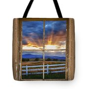 Rocky Mountain Country Beams Of Sunlight Rustic Window Frame Tote Bag