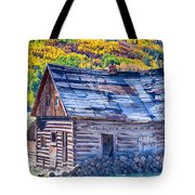 Rocky Mountain Rural Rustic Cabin Autumn View Tote Bag