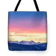 Rocky Mountain Sunset Clouds Burning Layers  Panorama Tote Bag