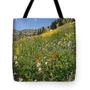 Rocky Mountain Wildflower Landscape Tote Bag