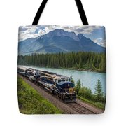 Rocky Mountaineer At Muleshoe On The Bow River Tote Bag by Steve Boyko