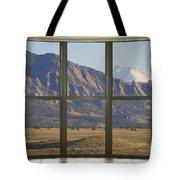 Rocky Mountains Flatirons With Snow Longs Peak Bay Window View Tote Bag