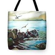 Rocky Seashore And Seagulls Tote Bag